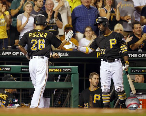 Adam Frazier and Andrew McCutchen Pittsburgh Pirates High 5 Unsigned 8x10 Photo