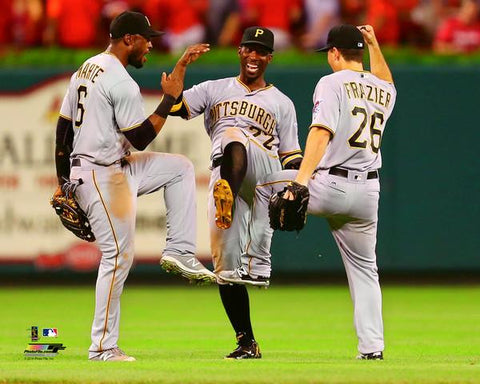Pittsburgh Pirates Andrew McCutchen, Sterling Marte and Adam Frazier Outfield Celebration Unsigned 8x10 Photo