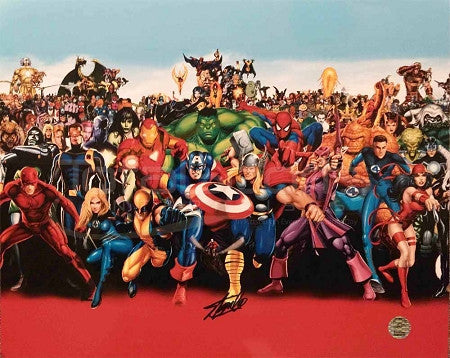 Marvel's Avengers (Entire Cast) 16 x 20 Collage Signed by Stan Lee