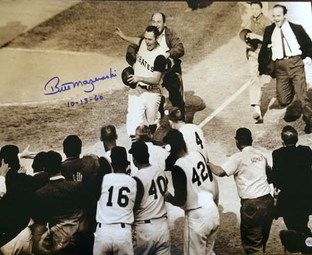 Bill Mazeroski Autographed 1960 World Series Home Run Approaching Home Plate 16X20 Photo with  Inscription '10-13-60'