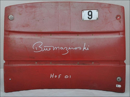 Bill Mazeroski Signed Three Rivers Stadium Seatback Inscribed 'HOF 01' (RED)