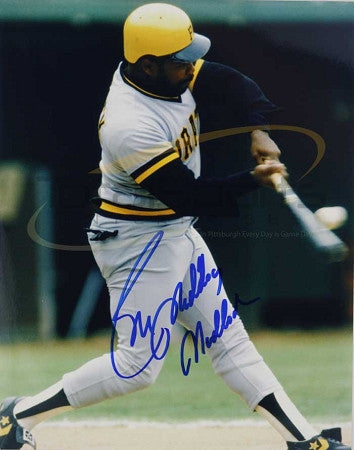 Bill Madlock Autographed 8x10 Swinging in Grey Uniform