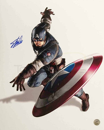 Marvel's Avengers -  Captain America Throwing Shield 16x20 Signed by Stan Lee