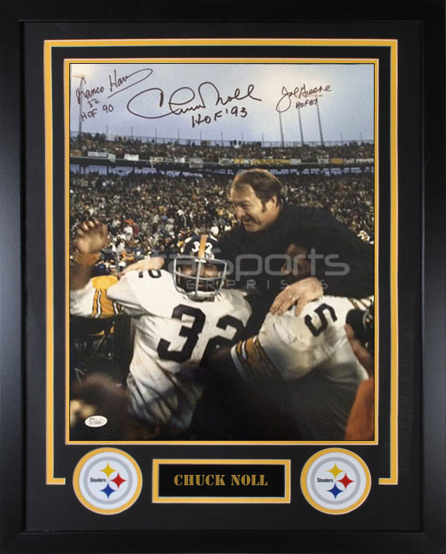 Harris / Noll / Greene Triple Signed 16x20 with Chuck Noll on Shoulders