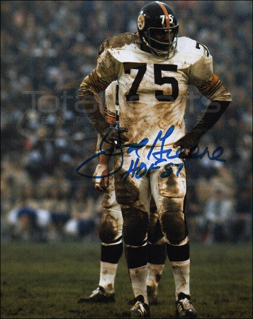 Joe Greene SIGNED Muddy White Uniform 16x20 Photo