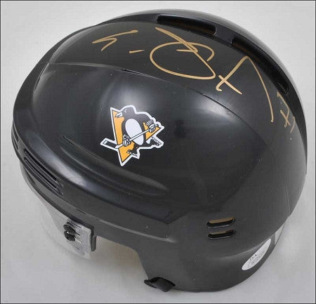 Evgeni Malkin Autographed Black Mini Helmet Throwback Logo