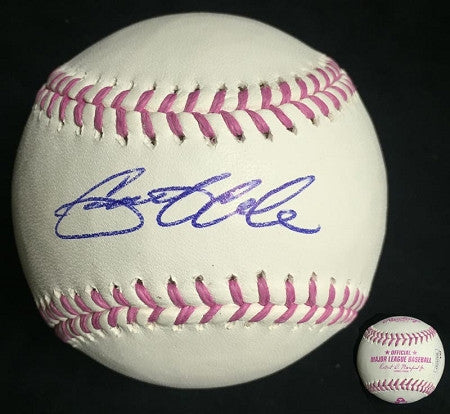 Gerrit Cole Autographed Breast Cancer Awareness Baseball
