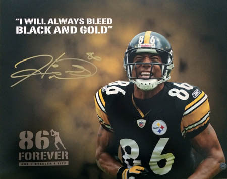 Hines Ward Autographed 86 Forever I Will Always Bleed Black and Gold Custom 8x10 Photo