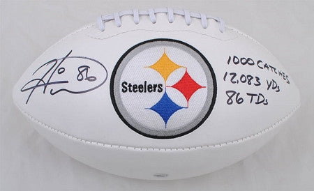 Hines Ward Autographed Steeler Logo Football & inscribed 1000 catches 12083 yards 86 TDs