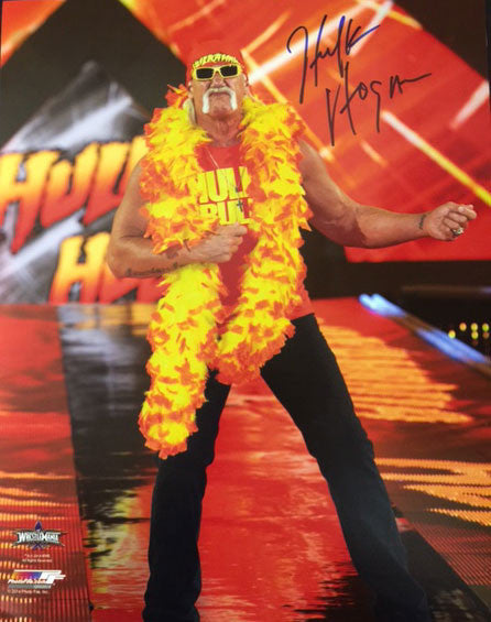Hulk Hogan Playing Air Guitar In Feather Boa 16x20 Photo Signed