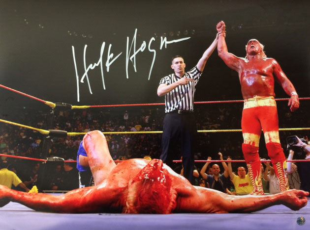 Hulk Hogan With Hand Raised By Ref In Victory 16x20 Photo Signed