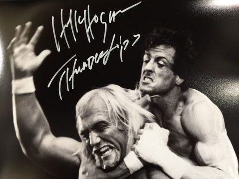 Hulk Hogan In Headlock By Rocky Balboa 16x20 Photo - Signed with 'Thunderlips' inscription