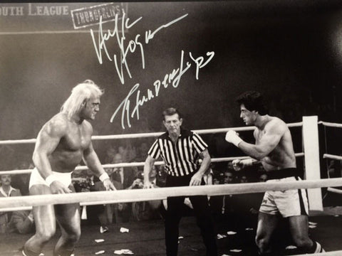 Hulk Hogan Preparing To Fight Rocky Balboa 16x20 Photo - Signed with 'Thunderlips' inscription