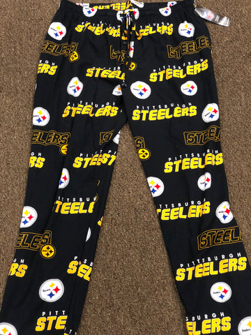 Pittsburgh Steelers Mens Black Reprise Sleep Pants with Logo