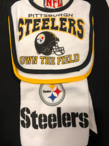 Steelers 3 Pc Cotton Bib & Burp Set (Own the Field)