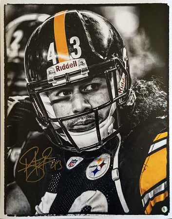 Troy Polamalu Signed TSE Exclusive B&W Helmet On with Black Jersey 16x20 Photo