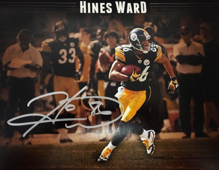 Hines Ward Signed 8x10 custom Running Photo