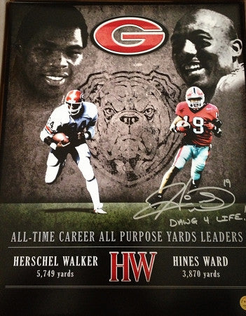 Hines Ward & Herschel Walker Exclusive 16x20 Georgia Bulldogs Photo (Autographed by Ward ONLY and inscribed