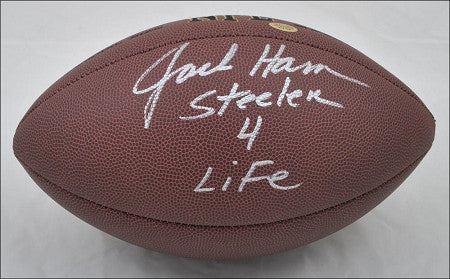 Jack Ham Autographed Replica NFL Football with Steeler 4 Life