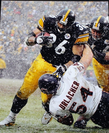 Jerome Bettis Over Urlacher Unsigned 30x40 Photo