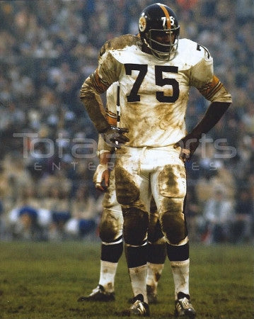Joe Greene UNSIGNED Muddy White Uniform 8x10 Photo