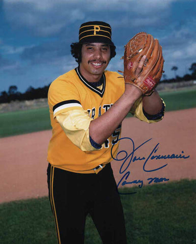 John Candelaria Signed Ball In Glove (Gold and Black Uniform) 8x10 Photo Inscribed 'CANDY MAN'