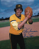 Image of John Candelaria Signed Ball In Glove (Gold and Black Uniform) 8x10 Photo Inscribed CANDY MAN