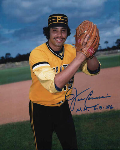 John Candelaria Signed Ball In Glove (Gold and Black Uniform) 8x10 Photo Inscribed 'N.H. 8-9-76'