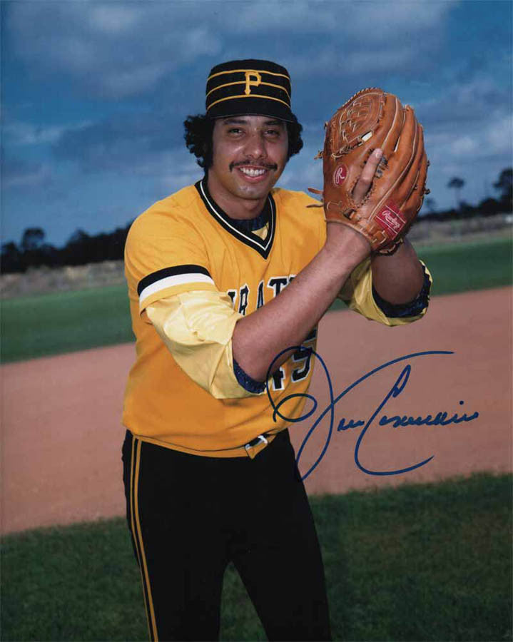 John Candelaria Signed Ball In Glove (Gold and Black Uniform) 8x10 Photo