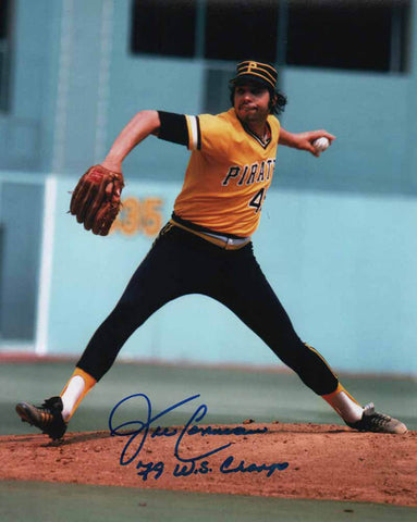 John Candelaria Signed Pitching (Gold and Black Uniform) 8x10 Photo Inscribed '79 WS Champs'
