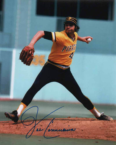 John Candelaria Signed Pitching (Gold and Black Uniform) 8x10 Photo