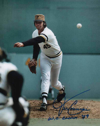 John Candelaria Signed Ball In Glove (White Uniform) 8x10 Photo Inscribed '79 WS Champs'