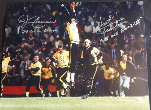 Kent Tekulve and John Candelaria Signed 11x14 Framed Photo - Inscribed 79 WS Champs and We Are Fam-i-lee