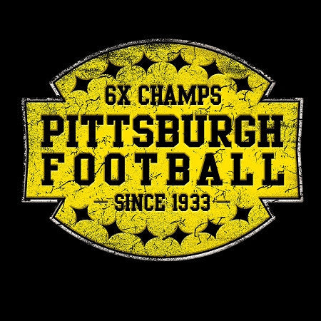 6X Champs Pittsburgh Football Tee - Womens Black Tee