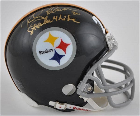 Rocky Bleier Autographed Pittsburgh Steelers Black Throwback Mini Helmet inscribed Steeler 4 Life