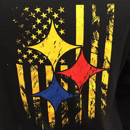 Steelers Flag Tee Shirt - Black