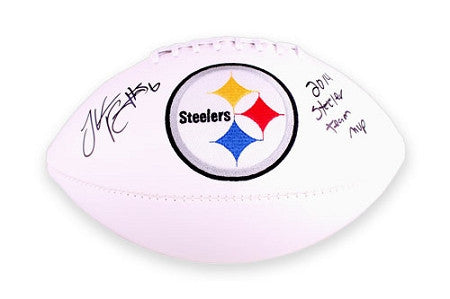 LIMITED EDITION 2-25/26 LeVeon Bell Autographed Logo Football with 2014 Steeler Team MVP Inscription