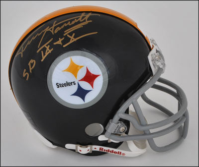 Terry Hanratty Autographed Pittsburgh Steelers Black Throwback Mini Helmet inscribed SB IX + X