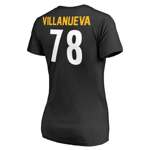 Women's Black Steelers Logo Villanueva T-Shirt
