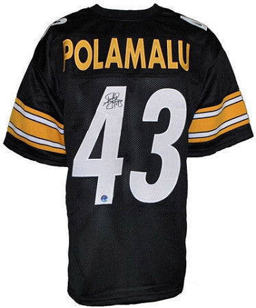 Troy Polamalu Autographed Pittsburgh Steelers Black Custom Jersey