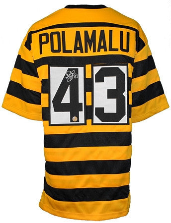 Troy Polamalu Autographed Pittsburgh Steelers Bumble Bee Custom Jersey
