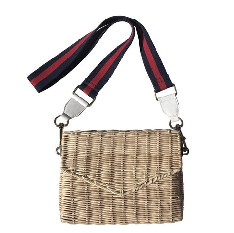 Rattan crossbody with red/navy strap