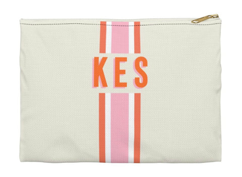 Pink And Orange Striped Clutch