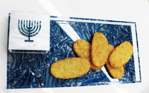 Latke Marble Tray with Menorah