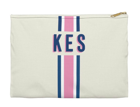 Pink And Blue Striped Clutch