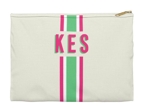 Pink And Green Striped Clutch