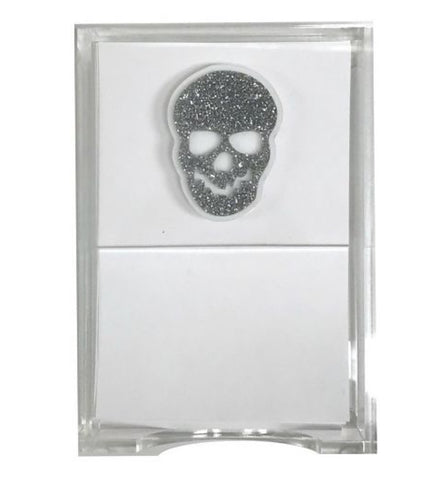 Glitter Skull Notes in holder