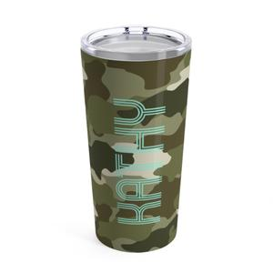 Green Camo Travel Tumbler