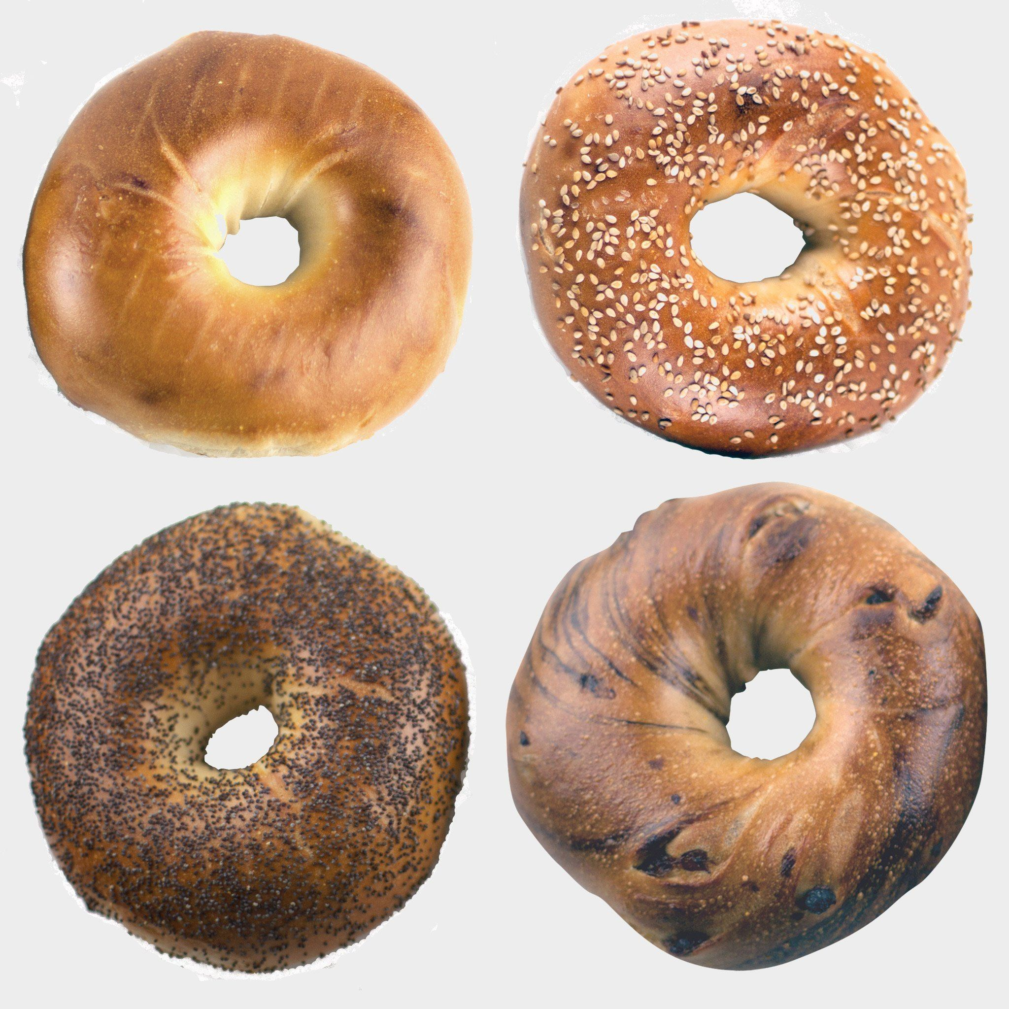 Plain and sesame bagels