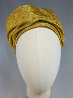 Draped Turban in Retro Gold Lurex Fabric
